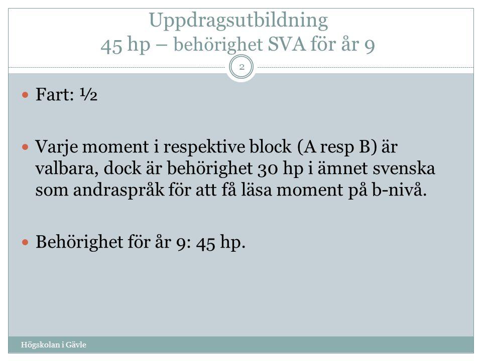 Uppdragsutbildning 45 hp – behörighet SVA för år 9 Högskolan i Gävle 2 Fart: ½ Varje moment i respektive block (A resp B) är valbara, dock är behörighet 30 hp i ämnet svenska som andraspråk för att få läsa moment på b-nivå.