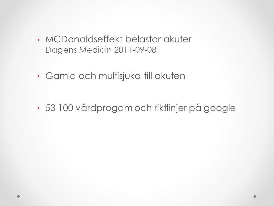 MCDonaldseffekt belastar akuter Dagens Medicin 2011-09-08 Gamla och multisjuka till akuten 53 100 vårdprogam och riktlinjer på google