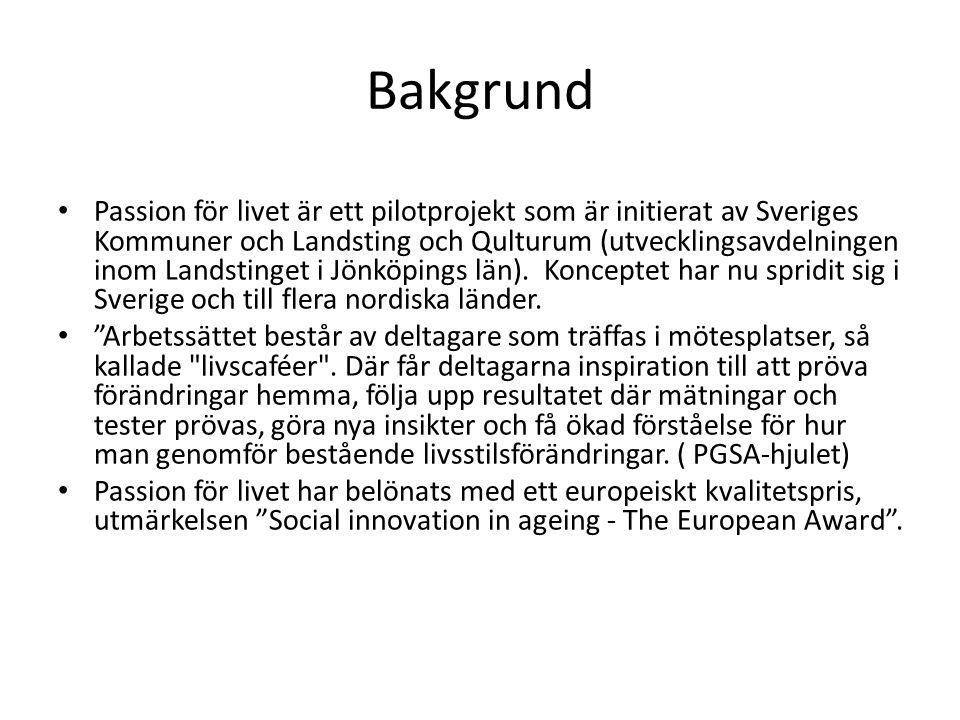 Bakgrund Passion för livet är ett pilotprojekt som är initierat av Sveriges Kommuner och Landsting och Qulturum (utvecklingsavdelningen inom Landstinget i Jönköpings län).