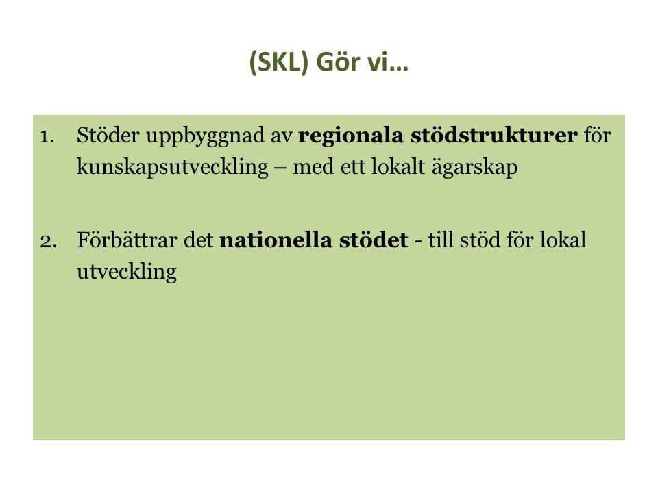 (SKL) Gör vi… 1.Stöder uppbyggnad av regionala stödstrukturer för kunskapsutveckling – med ett lokalt ägarskap 2.Förbättrar det nationella stödet - ti