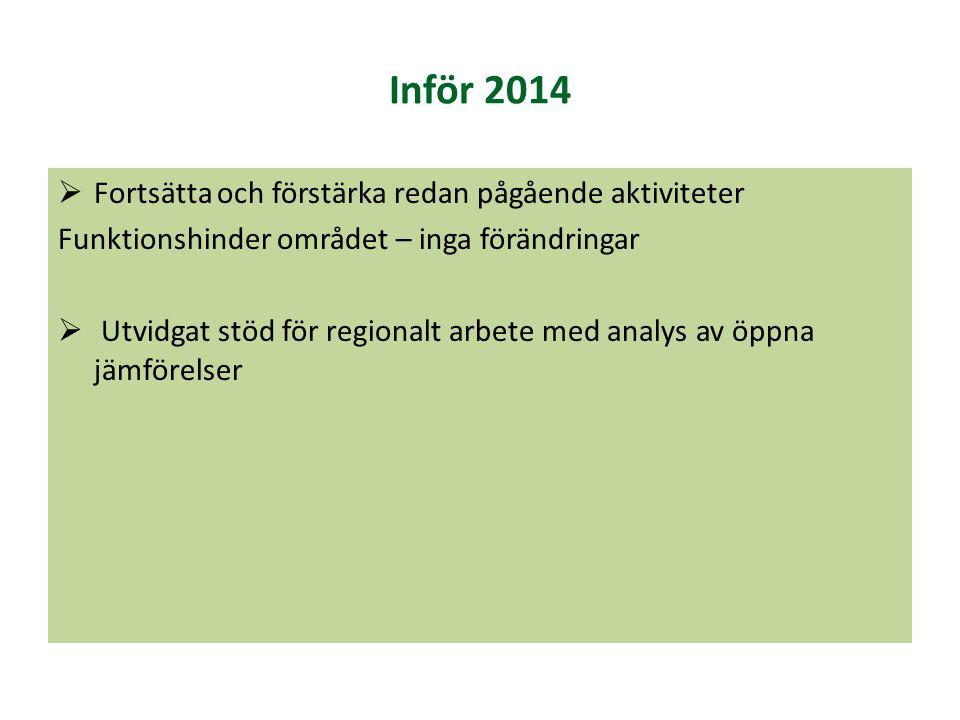 Inför 2014  Fortsätta och förstärka redan pågående aktiviteter Funktionshinder området – inga förändringar  Utvidgat stöd för regionalt arbete med a