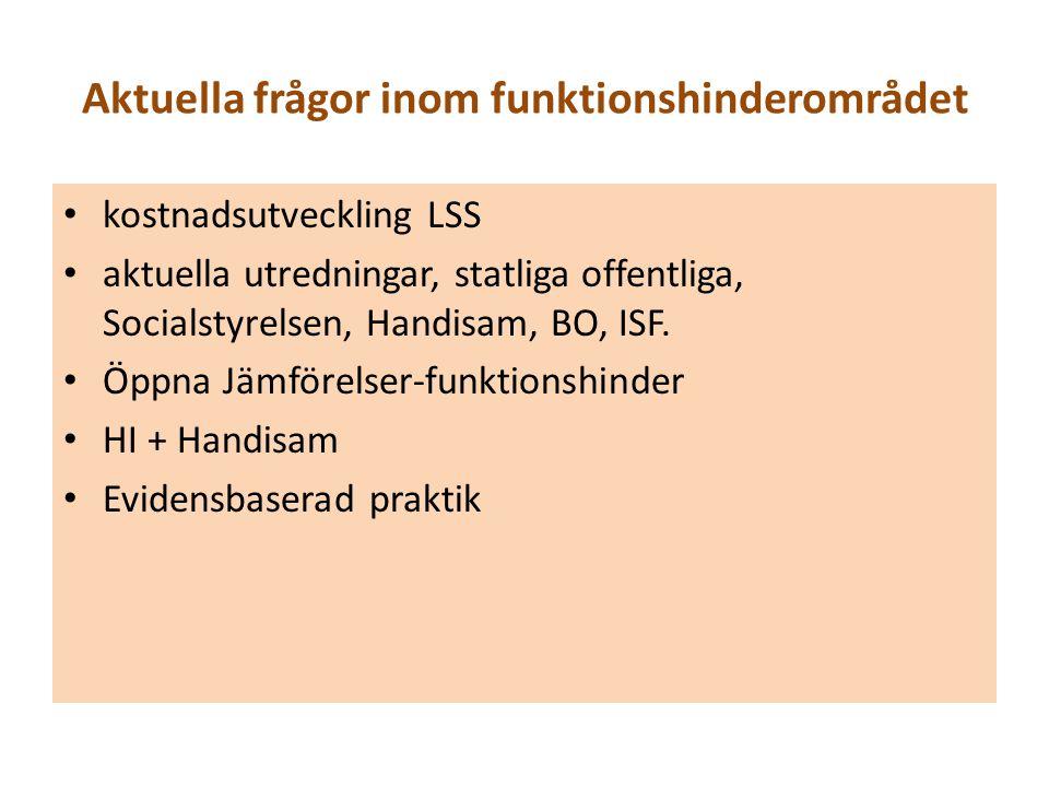 Aktuella frågor inom funktionshinderområdet kostnadsutveckling LSS aktuella utredningar, statliga offentliga, Socialstyrelsen, Handisam, BO, ISF. Öppn