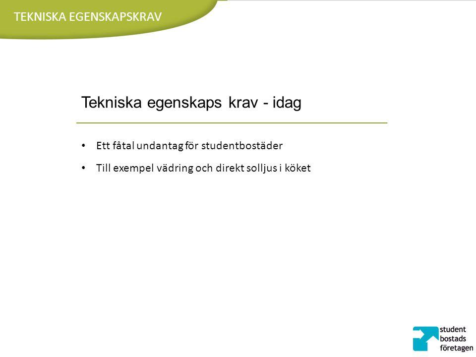 TEKNISKA EGENSKAPSKRAV Tekniska egenskaps krav - idag Ett fåtal undantag för studentbostäder Till exempel vädring och direkt solljus i köket