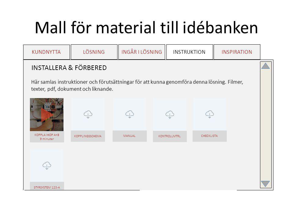 Mall för material till idébanken KUNDNYTTA LÖSNINGINGÅR I LÖSNINGINSTRUKTIONINSPIRATION MILJÖBILDER Inspirerande miljöbilder av hög kvalitet.