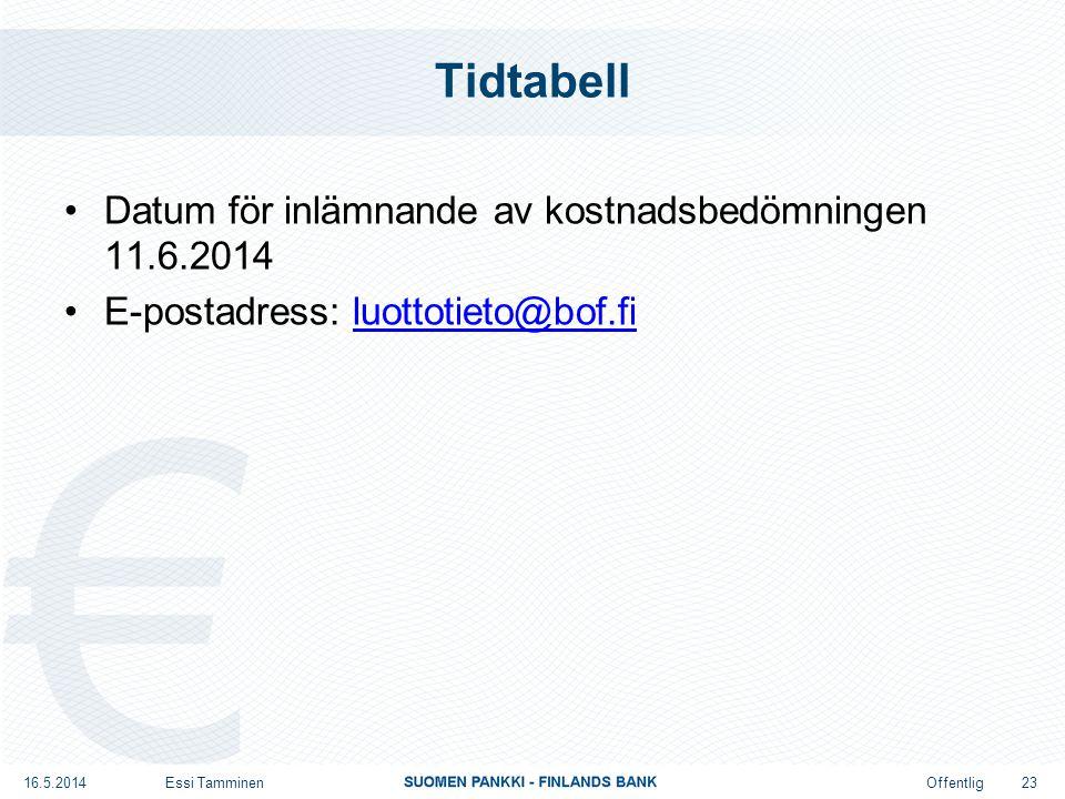 Offentlig Tidtabell Datum för inlämnande av kostnadsbedömningen 11.6.2014 E-postadress: luottotieto@bof.filuottotieto@bof.fi 16.5.2014Essi Tamminen 23