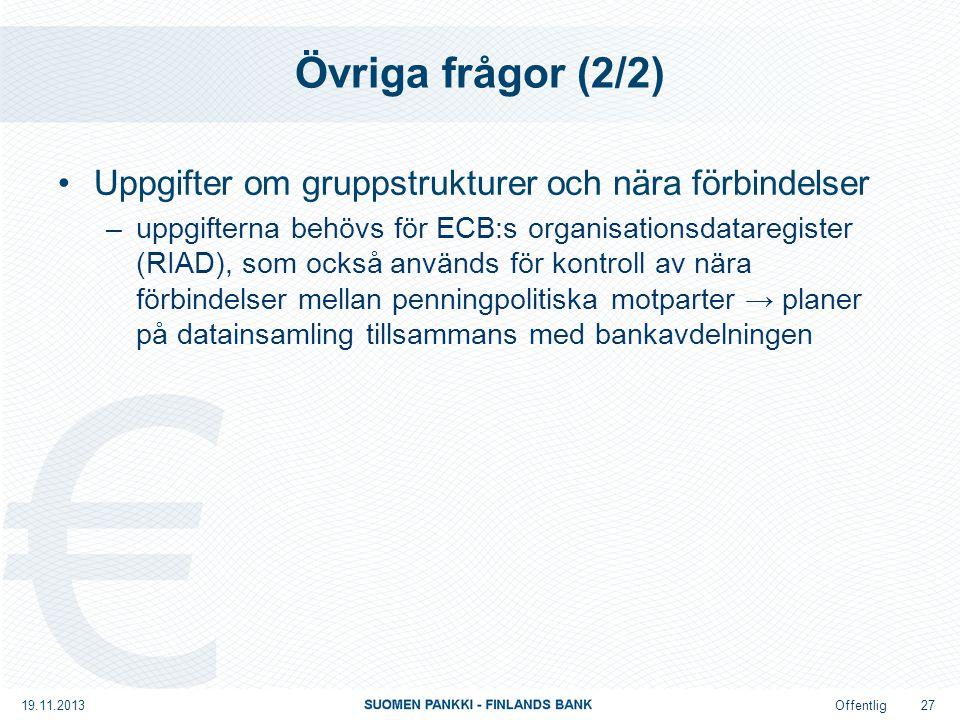 Offentlig Övriga frågor (2/2) Uppgifter om gruppstrukturer och nära förbindelser –uppgifterna behövs för ECB:s organisationsdataregister (RIAD), som också används för kontroll av nära förbindelser mellan penningpolitiska motparter → planer på datainsamling tillsammans med bankavdelningen 19.11.2013 27