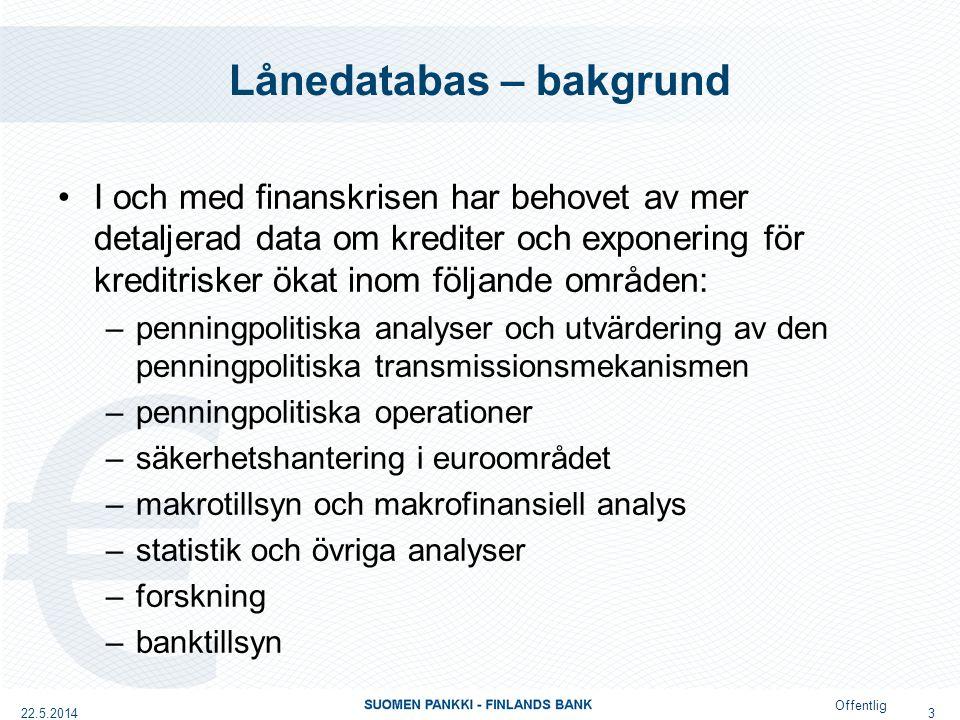 Offentlig Lånedatabas – bakgrund ECB-rådets beslut om förberedande åtgärder för Europeiska centralbanksystemets insamling av detaljerad data om krediter (ECB/2014/6)/24.2.2014 (http://www.ecb.europa.eu/ecb/legal/pdf/oj_jol_2014_104_r_0008_sv_txt.pdf)http://www.ecb.europa.eu/ecb/legal/pdf/oj_jol_2014_104_r_0008_sv_txt.pdf –Förutsätter att centralbankerna inleder förberedelser för att inrätta en databas med uppgifter lån för lån.