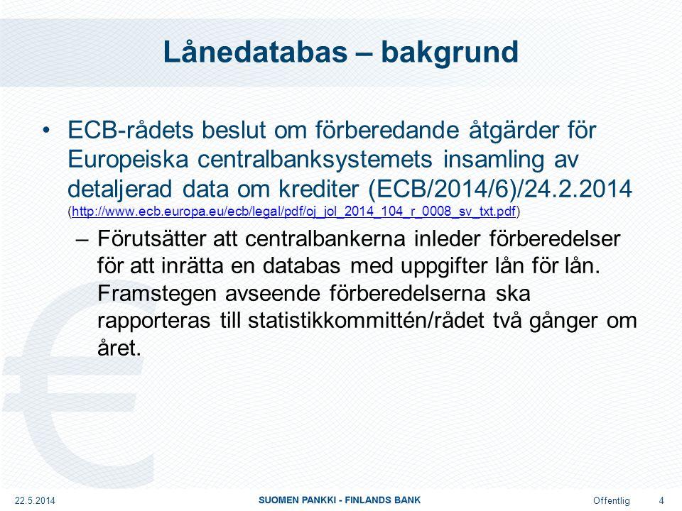 Offentlig Lånedatabas – syfte (1/2) Flexibel och mångsidig databas som innehåller en grundläggande mängd harmoniserade data om lån, åtaganden utanför balansräkningen, kreditderivat, värdepapper Kan också innehålla aggregerade uppgifter Omfattar utöver kreditinstitut även andra kreditgivare Genomförs stegvis (beslut på nationell nivå); den första fasen klar vid utgången av år 2016 22.5.2014 5