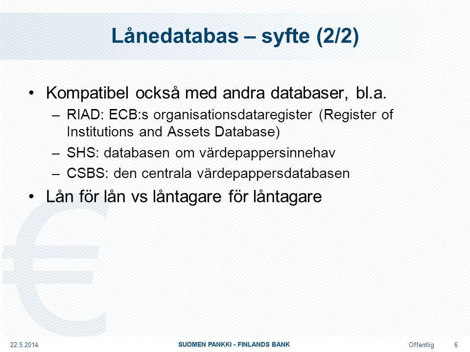 Offentlig Analytisk lånedatabas – ACDB Analytisk lånedatabas Rapportörsgrupp: BSI RAPPORTÖRER Databasens innehåll: DEFINITION AV KREDIT Databasens struktur: DATAINNEHÅLL Frekvens: KVARTAL