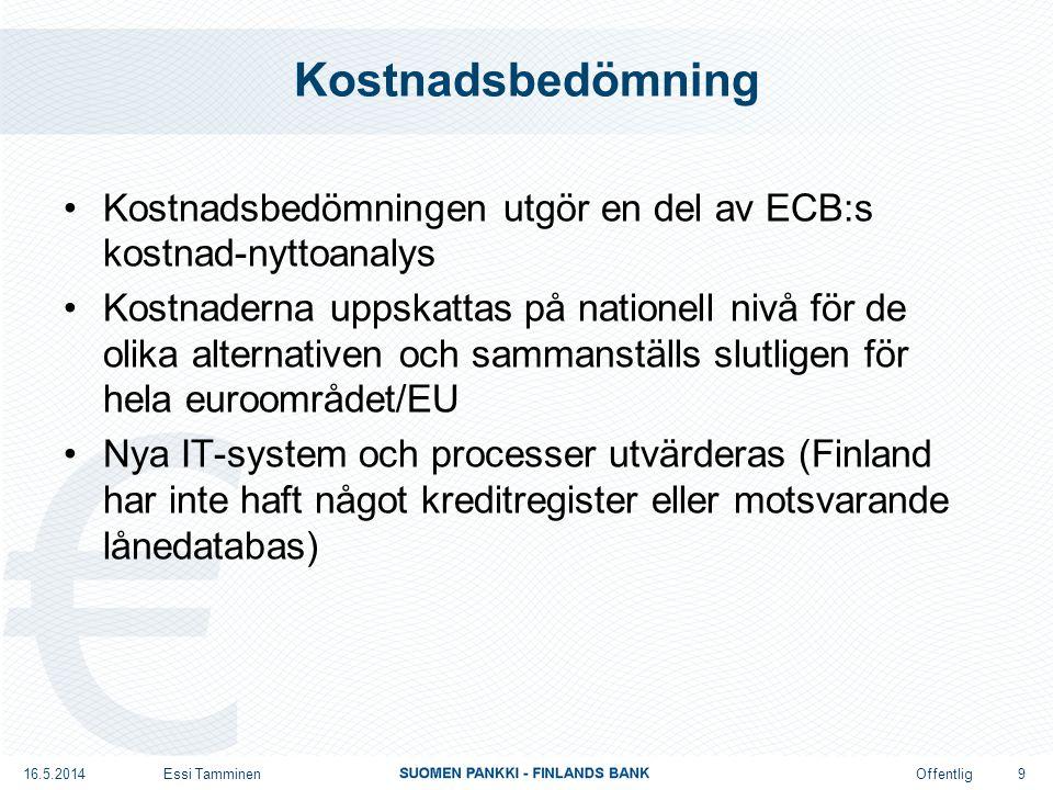 Offentlig Kostnadsbedömning Kostnadsbedömningen utgör en del av ECB:s kostnad-nyttoanalys Kostnaderna uppskattas på nationell nivå för de olika alternativen och sammanställs slutligen för hela euroområdet/EU Nya IT-system och processer utvärderas (Finland har inte haft något kreditregister eller motsvarande lånedatabas) 16.5.2014Essi Tamminen 9