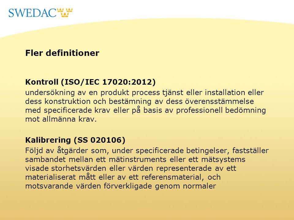 Fler definitioner Kontroll (ISO/IEC 17020:2012) undersökning av en produkt process tjänst eller installation eller dess konstruktion och bestämning av