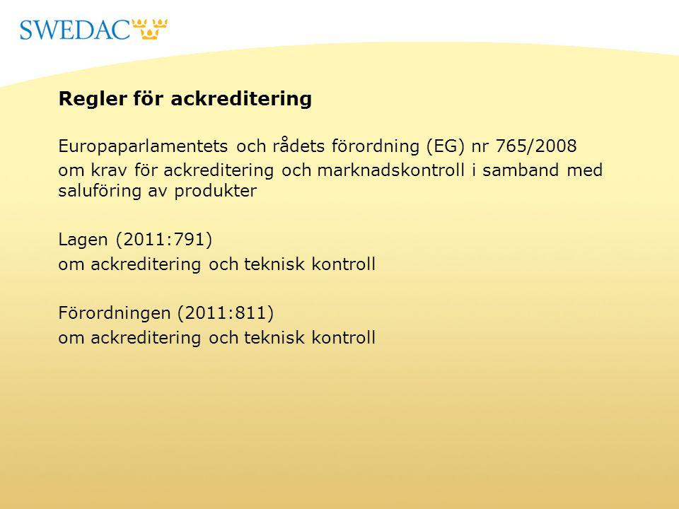 Regler för ackreditering Europaparlamentets och rådets förordning (EG) nr 765/2008 om krav för ackreditering och marknadskontroll i samband med salufö