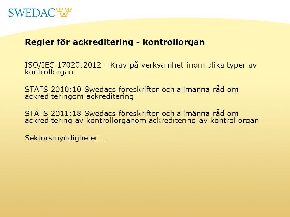 Regler för ackreditering - kontrollorgan ISO/IEC 17020:2012 - Krav på verksamhet inom olika typer av kontrollorgan STAFS 2010:10 Swedacs föreskrifter
