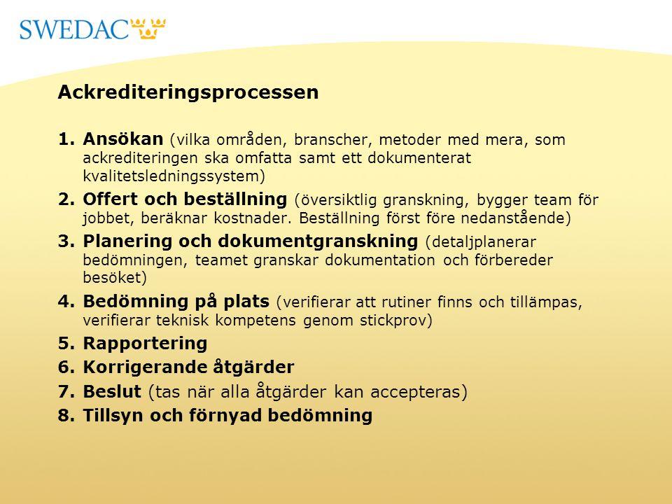 Ackrediteringsprocessen 1.Ansökan (vilka områden, branscher, metoder med mera, som ackrediteringen ska omfatta samt ett dokumenterat kvalitetslednings