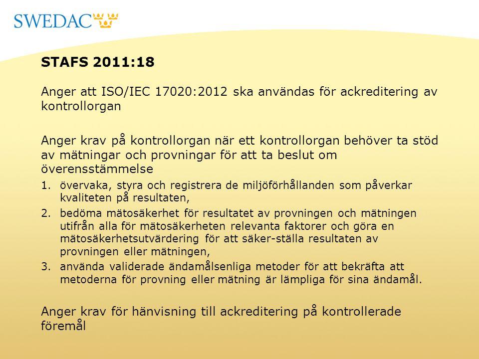 STAFS 2011:18 Anger att ISO/IEC 17020:2012 ska användas för ackreditering av kontrollorgan Anger krav på kontrollorgan när ett kontrollorgan behöver t