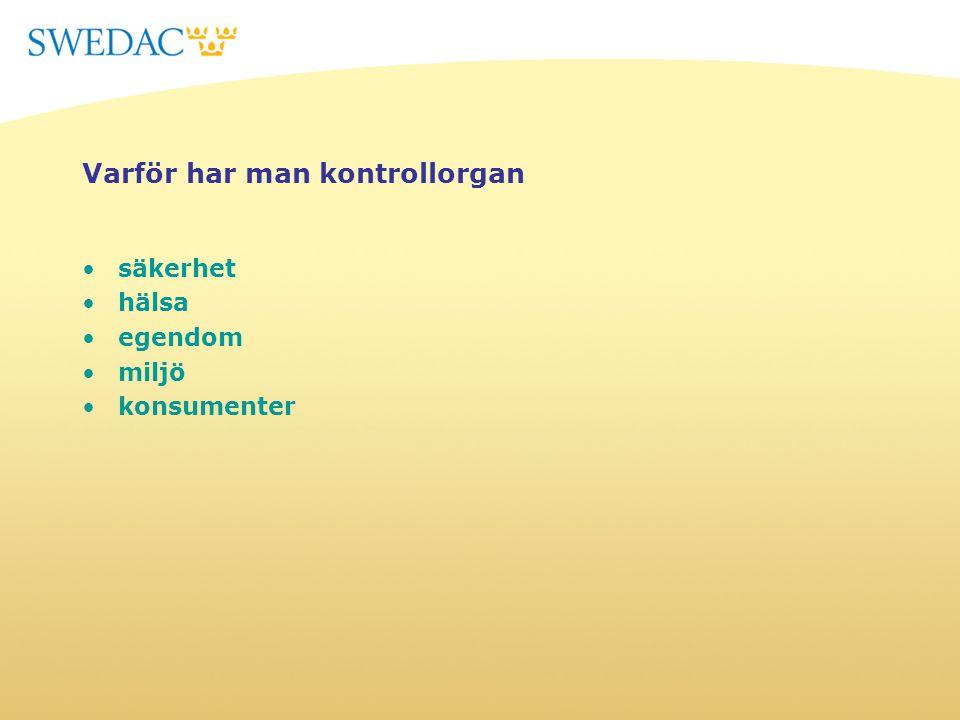 Regler för ackreditering - kontrollorgan ISO/IEC 17020:2012 - Krav på verksamhet inom olika typer av kontrollorgan STAFS 2010:10 Swedacs föreskrifter och allmänna råd om ackrediteringom ackreditering STAFS 2011:18 Swedacs föreskrifter och allmänna råd om ackreditering av kontrollorganom ackreditering av kontrollorgan Sektorsmyndigheter……