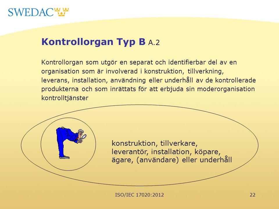 ISO/IEC 17020:201222 Kontrollorgan Typ B A.2 Kontrollorgan som utgör en separat och identifierbar del av en organisation som är involverad i konstrukt