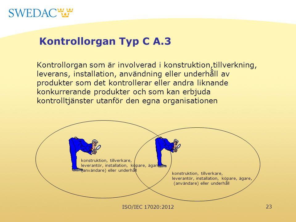 ISO/IEC 17020:2012 23 Kontrollorgan Typ C A.3 Kontrollorgan som är involverad i konstruktion,tillverkning, leverans, installation, användning eller un