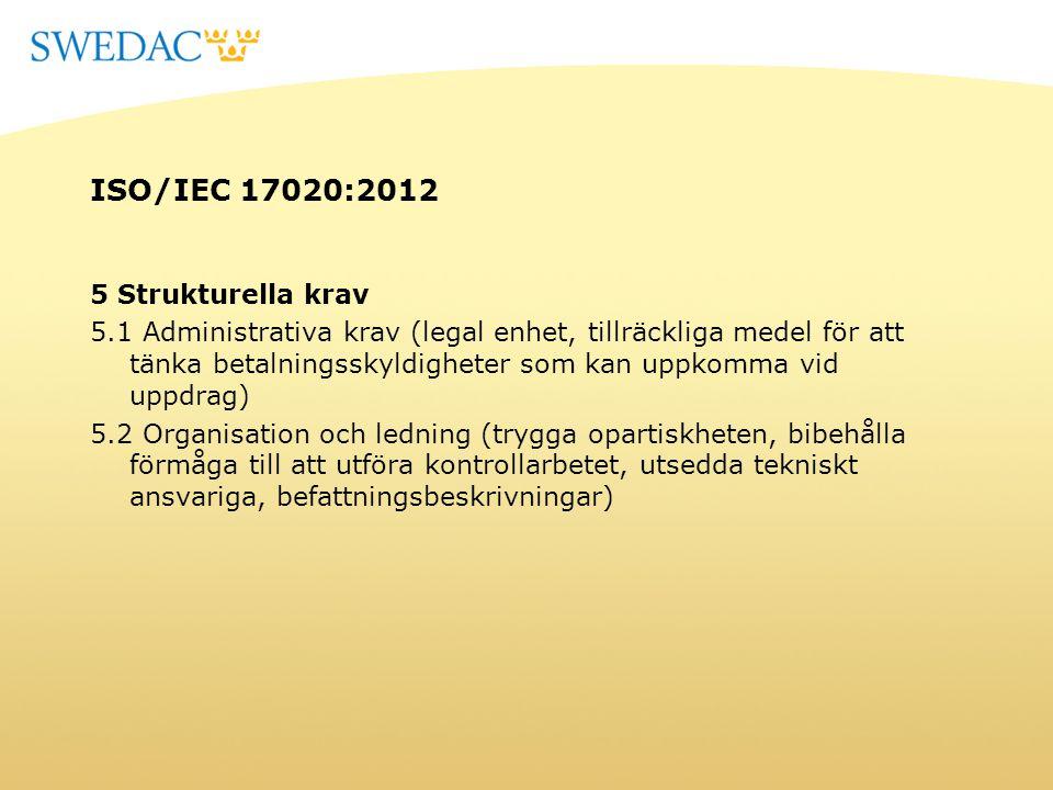 ISO/IEC 17020:2012 5 Strukturella krav 5.1 Administrativa krav (legal enhet, tillräckliga medel för att tänka betalningsskyldigheter som kan uppkomma