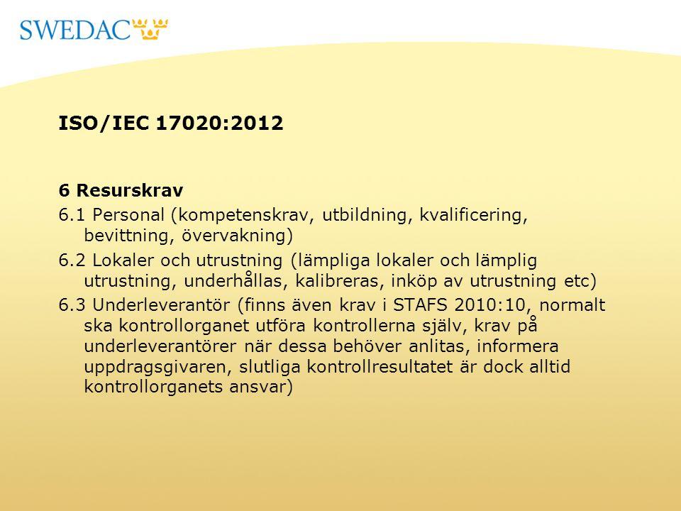ISO/IEC 17020:2012 6 Resurskrav 6.1 Personal (kompetenskrav, utbildning, kvalificering, bevittning, övervakning) 6.2 Lokaler och utrustning (lämpliga
