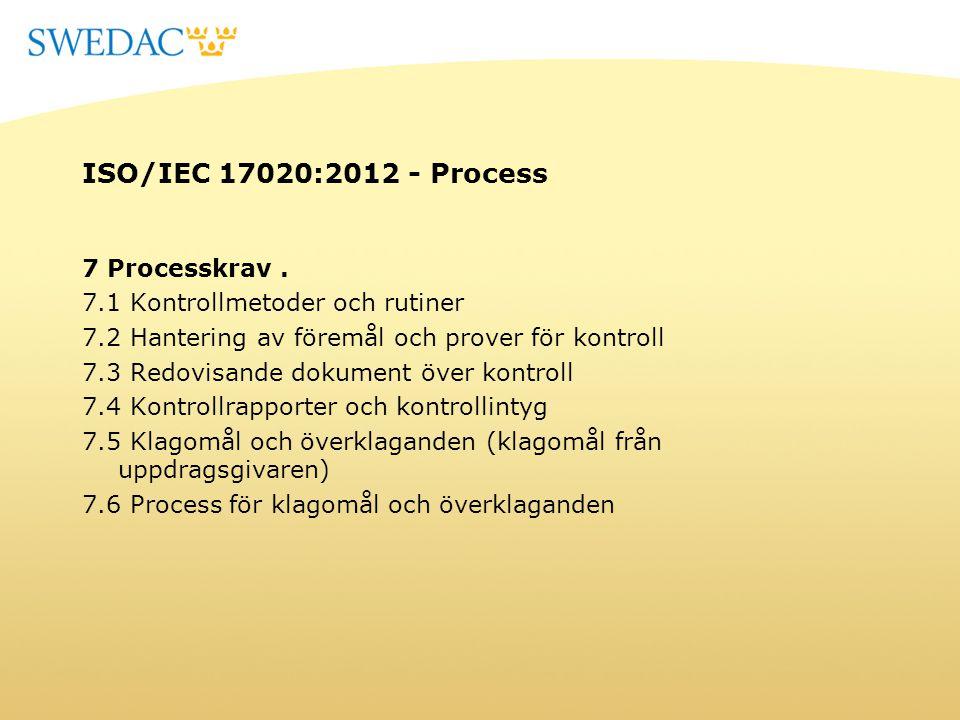 ISO/IEC 17020:2012 - Process 7 Processkrav. 7.1 Kontrollmetoder och rutiner 7.2 Hantering av föremål och prover för kontroll 7.3 Redovisande dokument