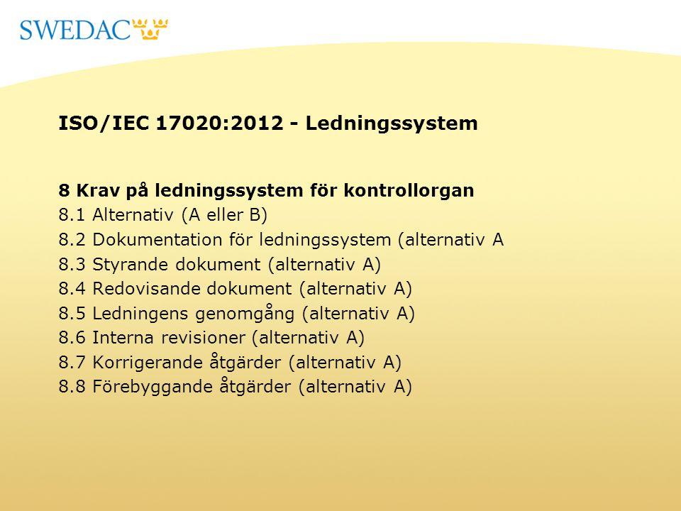 ISO/IEC 17020:2012 - Ledningssystem 8 Krav på ledningssystem för kontrollorgan 8.1 Alternativ (A eller B) 8.2 Dokumentation för ledningssystem (altern