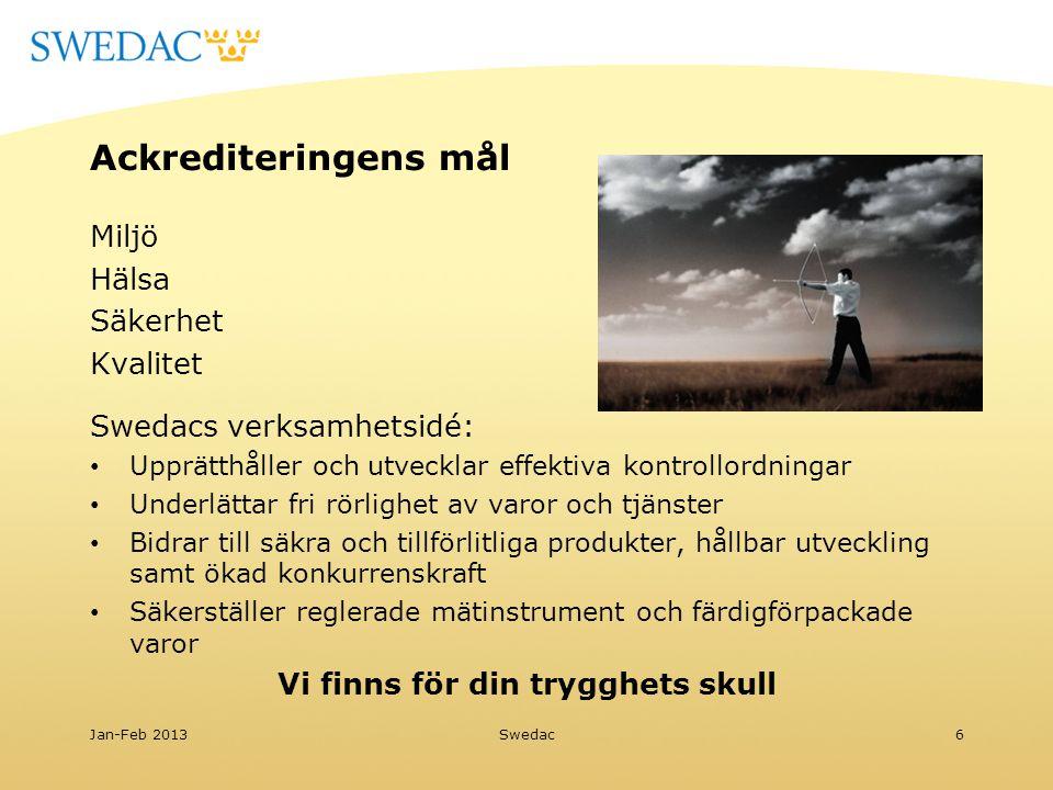 Ackrediteringens mål Miljö Hälsa Säkerhet Kvalitet Swedacs verksamhetsidé: Upprätthåller och utvecklar effektiva kontrollordningar Underlättar fri rör