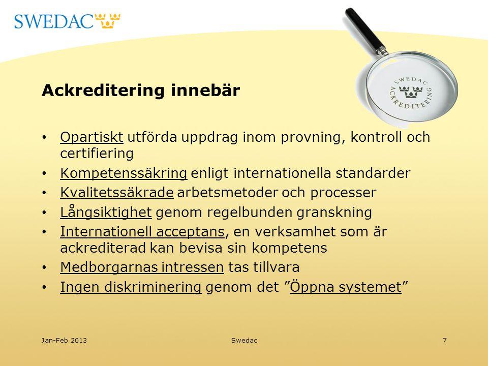 Ackreditering innebär Opartiskt utförda uppdrag inom provning, kontroll och certifiering Kompetenssäkring enligt internationella standarder Kvalitetss