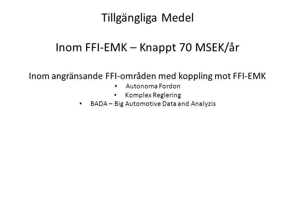 Tillgängliga Medel Inom FFI-EMK – Knappt 70 MSEK/år Inom angränsande FFI-områden med koppling mot FFI-EMK Autonoma Fordon Komplex Reglering BADA – Big