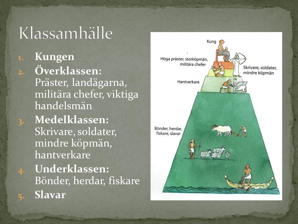 1.Kungen 2. Överklassen: Präster, landägarna, militära chefer, viktiga handelsmän 3.
