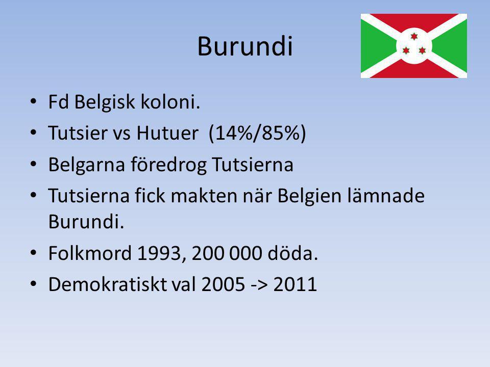 Burundi Fd Belgisk koloni. Tutsier vs Hutuer (14%/85%) Belgarna föredrog Tutsierna Tutsierna fick makten när Belgien lämnade Burundi. Folkmord 1993, 2