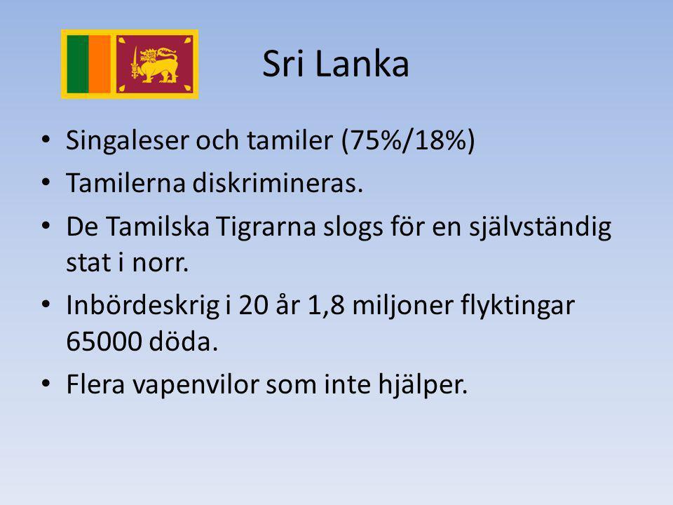Sri Lanka Singaleser och tamiler (75%/18%) Tamilerna diskrimineras. De Tamilska Tigrarna slogs för en självständig stat i norr. Inbördeskrig i 20 år 1
