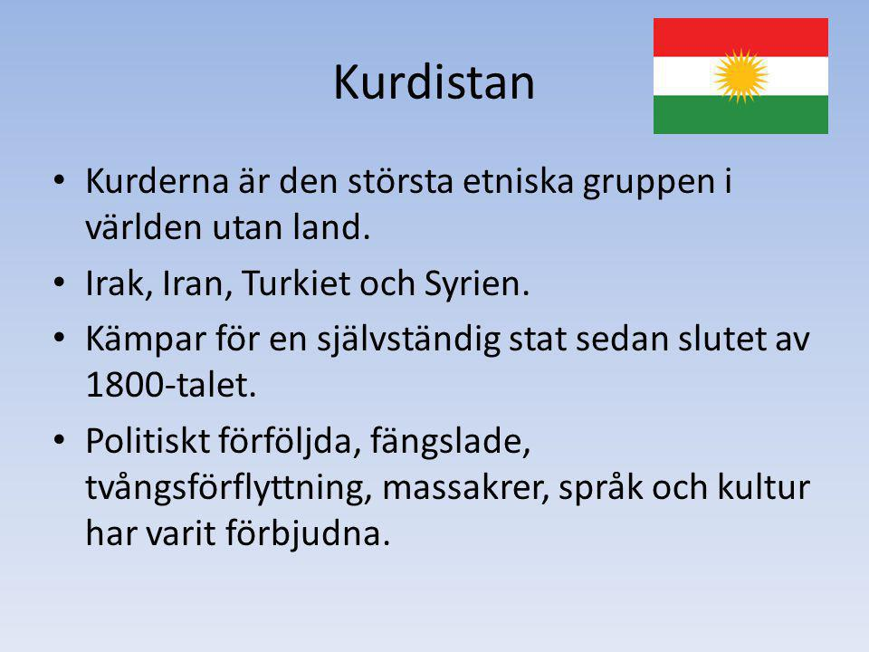 Kurdistan Kurderna är den största etniska gruppen i världen utan land. Irak, Iran, Turkiet och Syrien. Kämpar för en självständig stat sedan slutet av