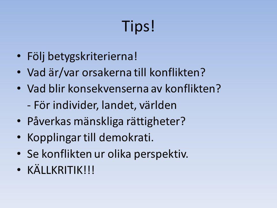 Tips.Följ betygskriterierna. Vad är/var orsakerna till konflikten.