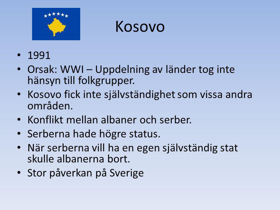 Kosovo 1991 Orsak: WWI – Uppdelning av länder tog inte hänsyn till folkgrupper. Kosovo fick inte självständighet som vissa andra områden. Konflikt mel
