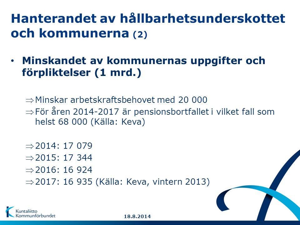 Hanterandet av hållbarhetsunderskottet och kommunerna (2) Minskandet av kommunernas uppgifter och förpliktelser (1 mrd.) Minskar arbetskraftsbehovet med 20 000 För åren 2014-2017 är pensionsbortfallet i vilket fall som helst 68 000 (Källa: Keva) 2014: 17 079 2015: 17 344 2016: 16 924 2017: 16 935 (Källa: Keva, vintern 2013) 18.8.2014