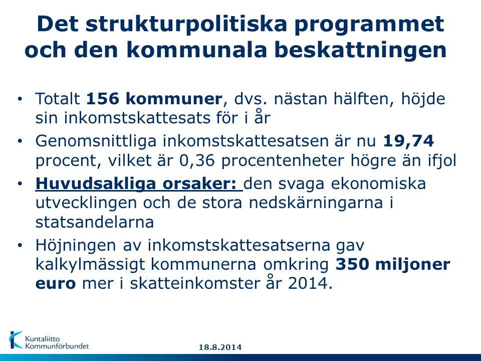Det strukturpolitiska programmet och den kommunala beskattningen Totalt 156 kommuner, dvs.