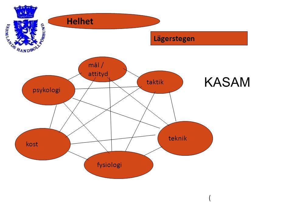 ( mål / attityd taktik teknik fysiologi kost psykologi Helhet Lägerstegen KASAM