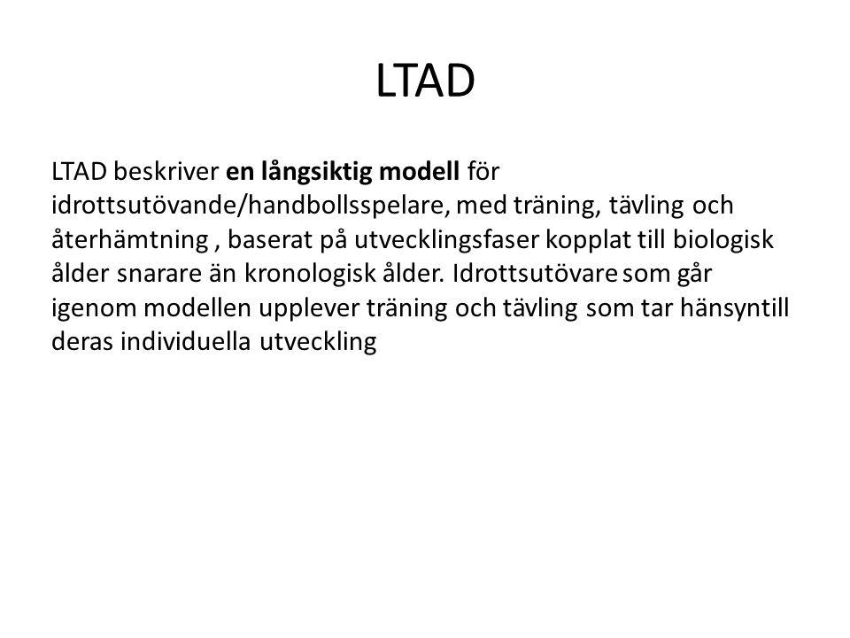 LTAD LTAD beskriver en långsiktig modell för idrottsutövande/handbollsspelare, med träning, tävling och återhämtning, baserat på utvecklingsfaser kopp