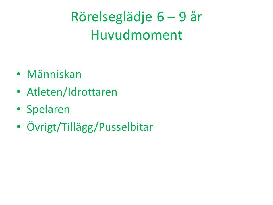 Rörelseglädje 6 – 9 år Huvudmoment Människan Atleten/Idrottaren Spelaren Övrigt/Tillägg/Pusselbitar
