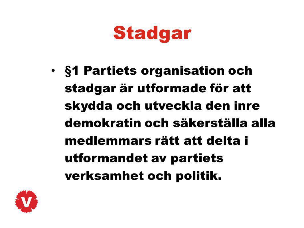 Stadgar §1 Partiets organisation och stadgar är utformade för att skydda och utveckla den inre demokratin och säkerställa alla medlemmars rätt att del