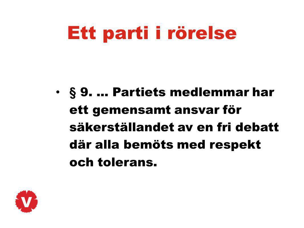 Ett parti i rörelse § 9.... Partiets medlemmar har ett gemensamt ansvar för säkerställandet av en fri debatt där alla bemöts med respekt och tolerans.