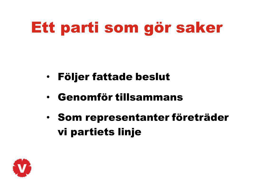 Ett parti som gör saker Följer fattade beslut Genomför tillsammans Som representanter företräder vi partiets linje