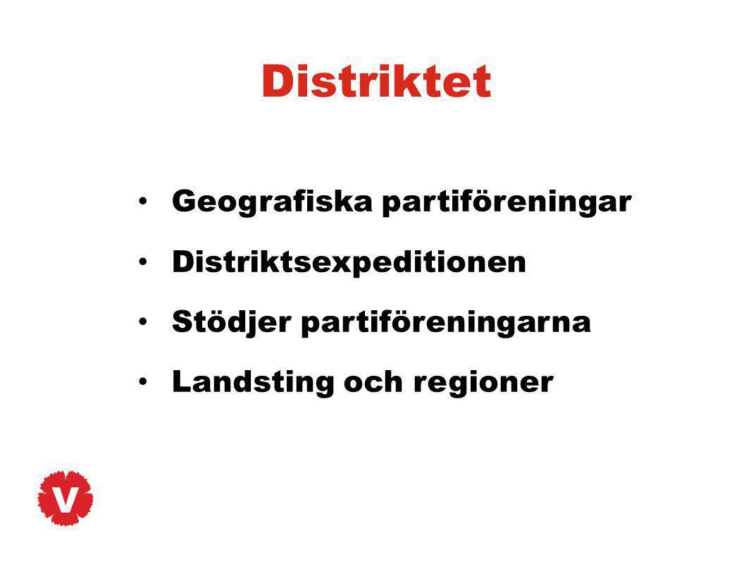 Distriktet Geografiska partiföreningar Distriktsexpeditionen Stödjer partiföreningarna Landsting och regioner