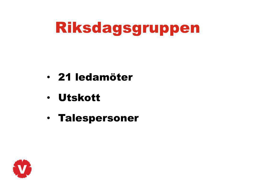 Riksdagsgruppen 21 ledamöter Utskott Talespersoner