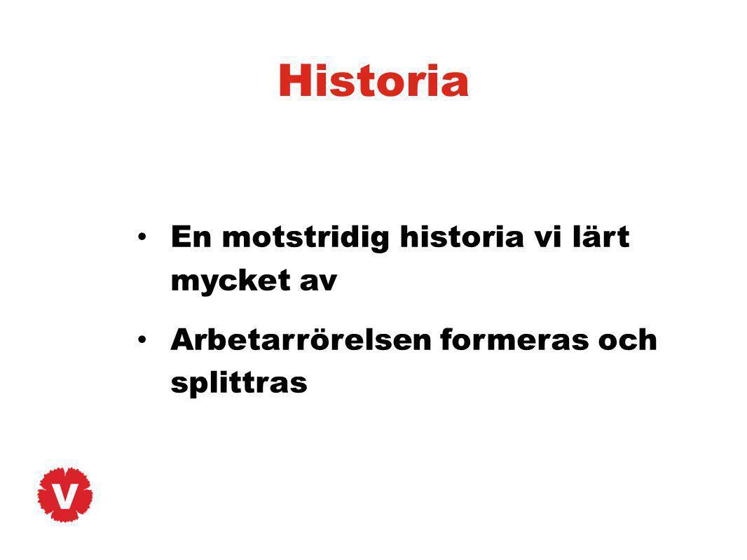 Historia En motstridig historia vi lärt mycket av Arbetarrörelsen formeras och splittras