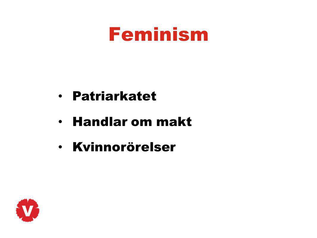 Feminism Patriarkatet Handlar om makt Kvinnorörelser