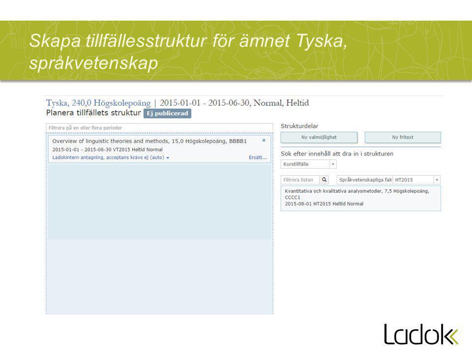 Skapa tillfällesstruktur för ämnet Tyska, språkvetenskap