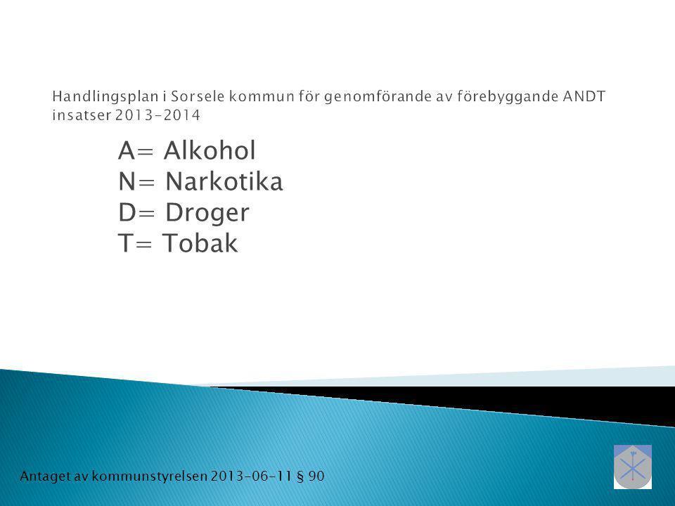 A= Alkohol N= Narkotika D= Droger T= Tobak Antaget av kommunstyrelsen 2013-06-11 § 90
