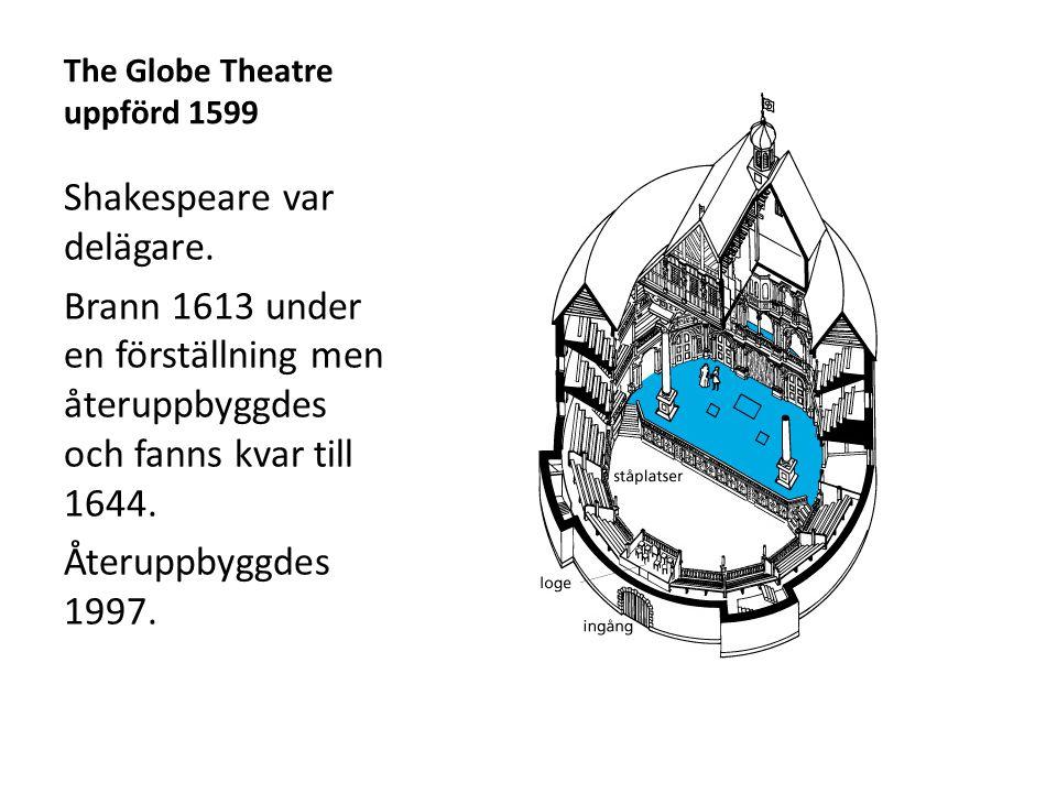 The Globe Theatre uppförd 1599 Shakespeare var delägare. Brann 1613 under en förställning men återuppbyggdes och fanns kvar till 1644. Återuppbyggdes